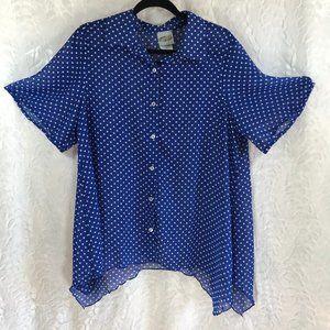 Vintage mod blue& white polka dot top blouse